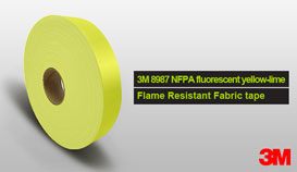 3M 8987 lime-yellow Flame Retardant Fabric Tape
